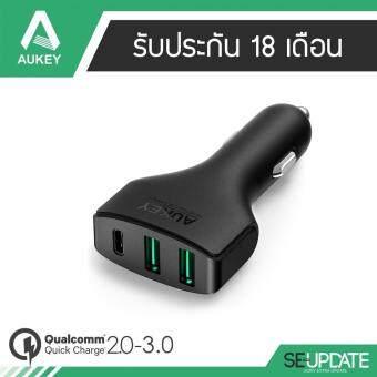 (ของแท้) Aukey 3-Port USB Car Charger with Quick Charge 3.0 with USB Type-C