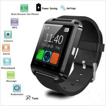 Aukey Bluetooth Smart Wrist Watch Phone Mate Camera For Android andIOS Iphone HTC Sony (Black) - intl