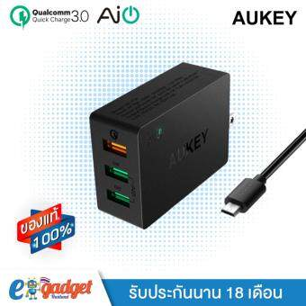 Aukey QC3.0 3-Port Charging Station Wall Charger with Qualcomm Quick Charge 3.0 และ AiPower หัวปลั๊กชาร์ทไฟ 3ช่อง QC3.0+ AiPower 2ช่อง ที่ชาร์จมือถือพร้อมสาย Micro USB 1เมตร รุ่น PA-T14 (Black)