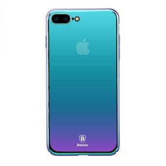 BASEUS Glass Case Gradual Changing Color PC Hard Casing for iPhone7 Plus 5.5 inch - Violet-blue - intl