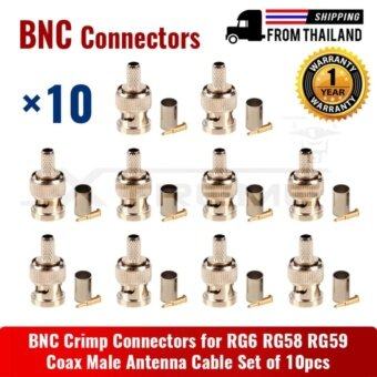 ประเทศไทย BNC Crimp Connectors for RG6 RG58 RG59 Coax Male Antenna Cable Set of 10pcs