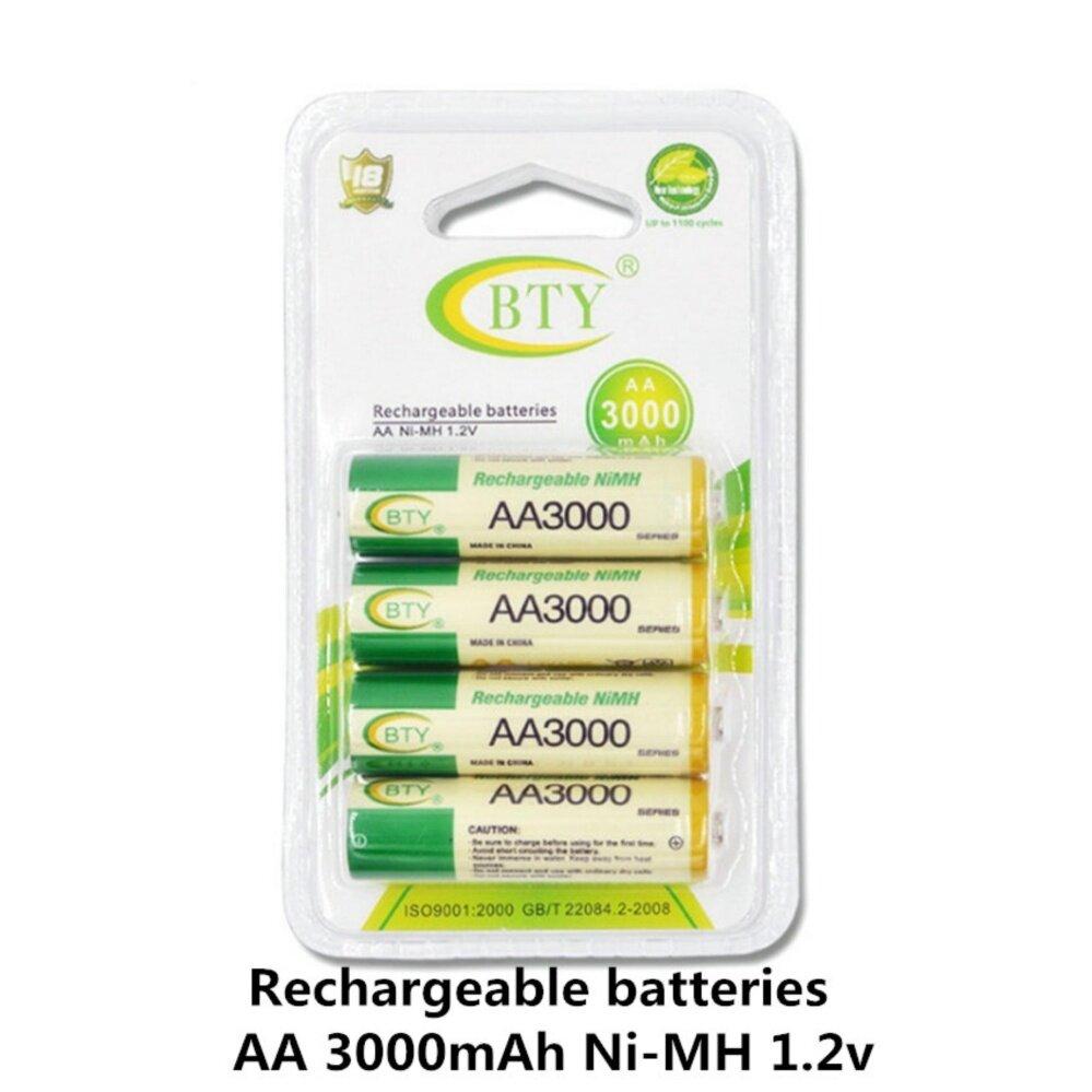 BTY ถ่านชาร์จ AA 3000 mAh NIMH Rechargeable Battery 4 ก้อน