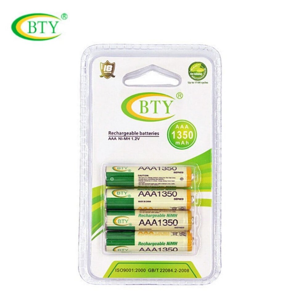 BTY ถ่านชาร์จ AAA 1350 mAh NIMH Rechargeable Battery 4 ก้อน