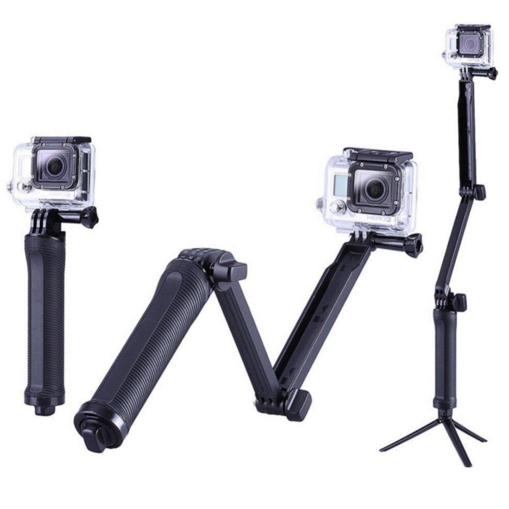 Buybuytech Monood / ไม้เซลฟี่สำหรับกล้อง Action Camทุกรุ่นปรับเปลี่ยนรูปแบบได้ 3 ทาง รุ่น XX-3WAY 3 way (สีดำ)