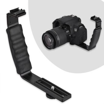 Camera Flash L-Bracket Dual Hot Shoes Holder Mount Adapter Mount DV Microphone LED Light - intl