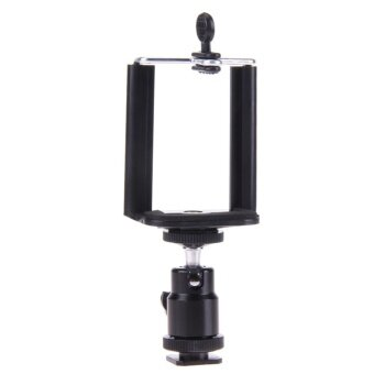 Camera Tripod Flash Bracket Mount 1/4 Adapter Ball Head with PhoneHolder - intl