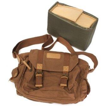 Canvas Vintage Shoulder Messenger Digtal Camera Bag forCanonNikonSony DSLR - intl