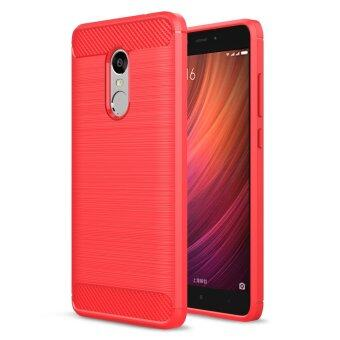 Carbon Fibre Brushed TPU Phone Case for Xiaomi Redmi Note 4 - Red -intl