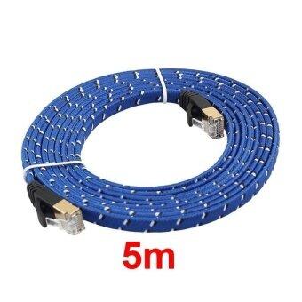 เปรียบเทียบราคา CAT 7 10Gbps Blue Weave Cable5m Security Cable Double Shielded RJ45 Cable - intl