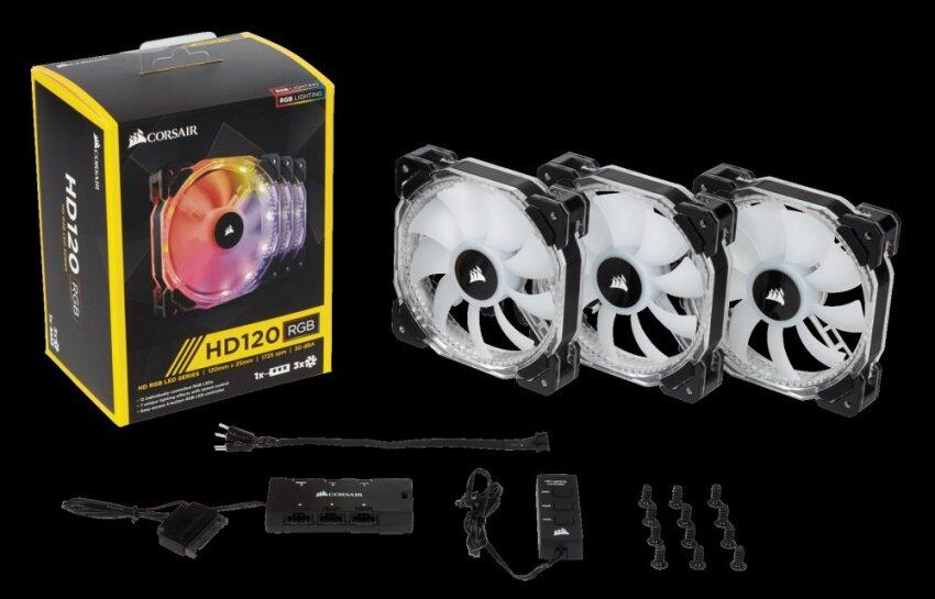 Corsair HD120 RGB LED High Performance 120mm PWM Fan — 3 Pack with Controller