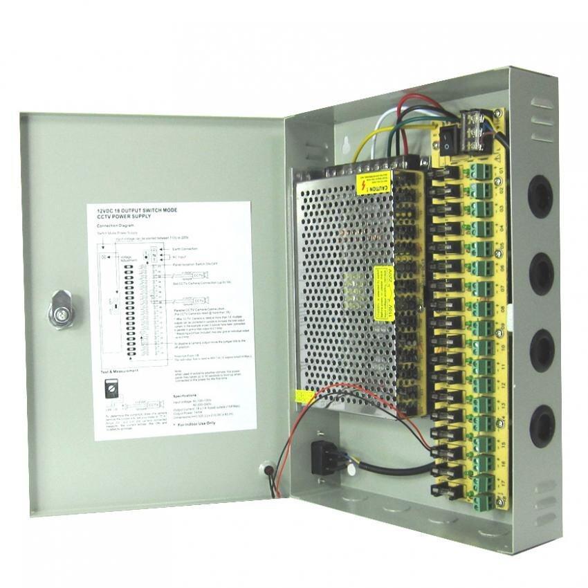 ตู้จ่ายไฟ DC12V 20A Switching Power Supply สำหรับกล้องวงจรปิด 10-18ตัว