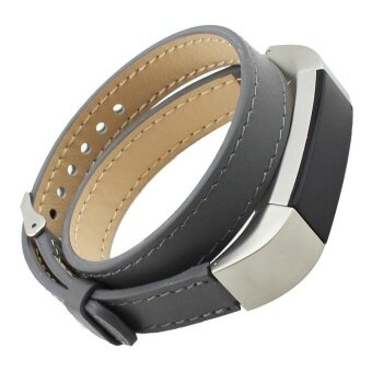 Double Tour Leather Watch Band Strap Bracelet For Fitbit Alta HR GY- intl