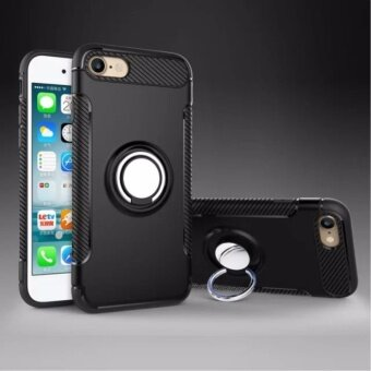 DTD Luxury Hybrid Armor Texture Case Anti-slip Carbon zFiber TPU +PC Back Cover with 360 Degree Rotating Ring Grip / Stand Holder forApple iPhone 6plus/6s 5.5inch - intl