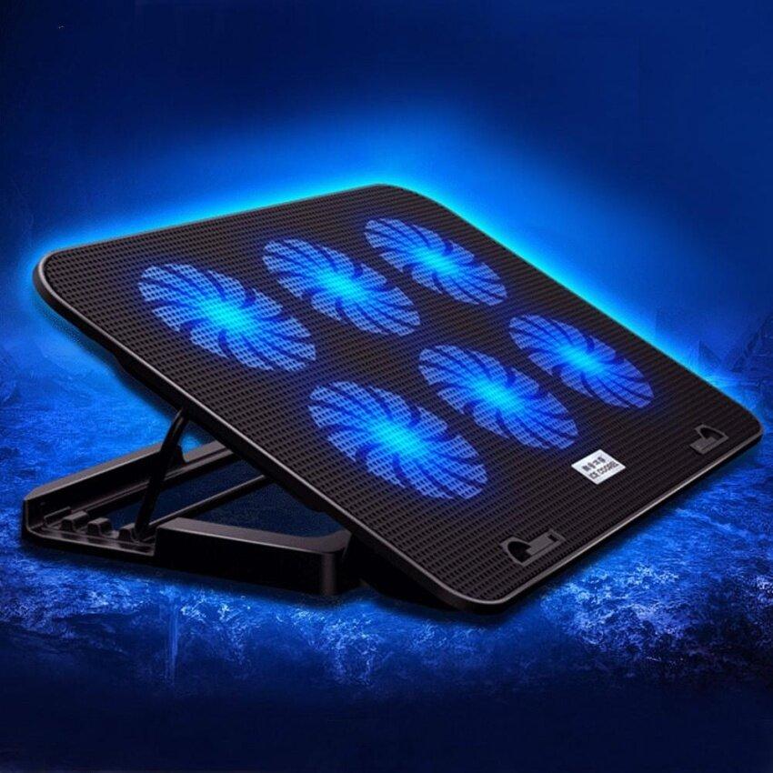 Dual USB Port Laptop Heatsink Quiet Adjust Wind Speed Cooling Pad Blue LED Backlight Cooler with Adjustable Height Bracket - intl