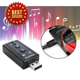 Elit ยูเอสบี ซาวน์การ์ด การ์ดเสียง USB Sound Adapter External USB 2.0 Virtual 7.1 Channel (Black)