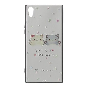 Embossing Pattern Printing Soft TPU Mobile Phone Case for Sony Xperia XA1 Ultra - Two Lovely Cats - intl