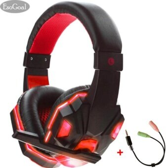 EsoGoal หูฟังเกมมิ่ง หูฟัง Gaming Headset (สีแดง)