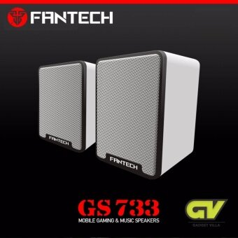 FANTECH Gaming Speaker Stereo ลำโพงเกมมิ่ง สเตริโอ 2.1 360 Surround Bass Membrane พร้อมสายปรับระดับเสียง -รุ่น GS733 (สีขาว)