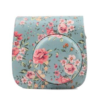 Fashion Fresh Flower PU Leather Protective Bag Holder Pouch Case with Shoulder Strap Pocket for Fujifilm Instax Mini 8 8+ 9 Blue - intl