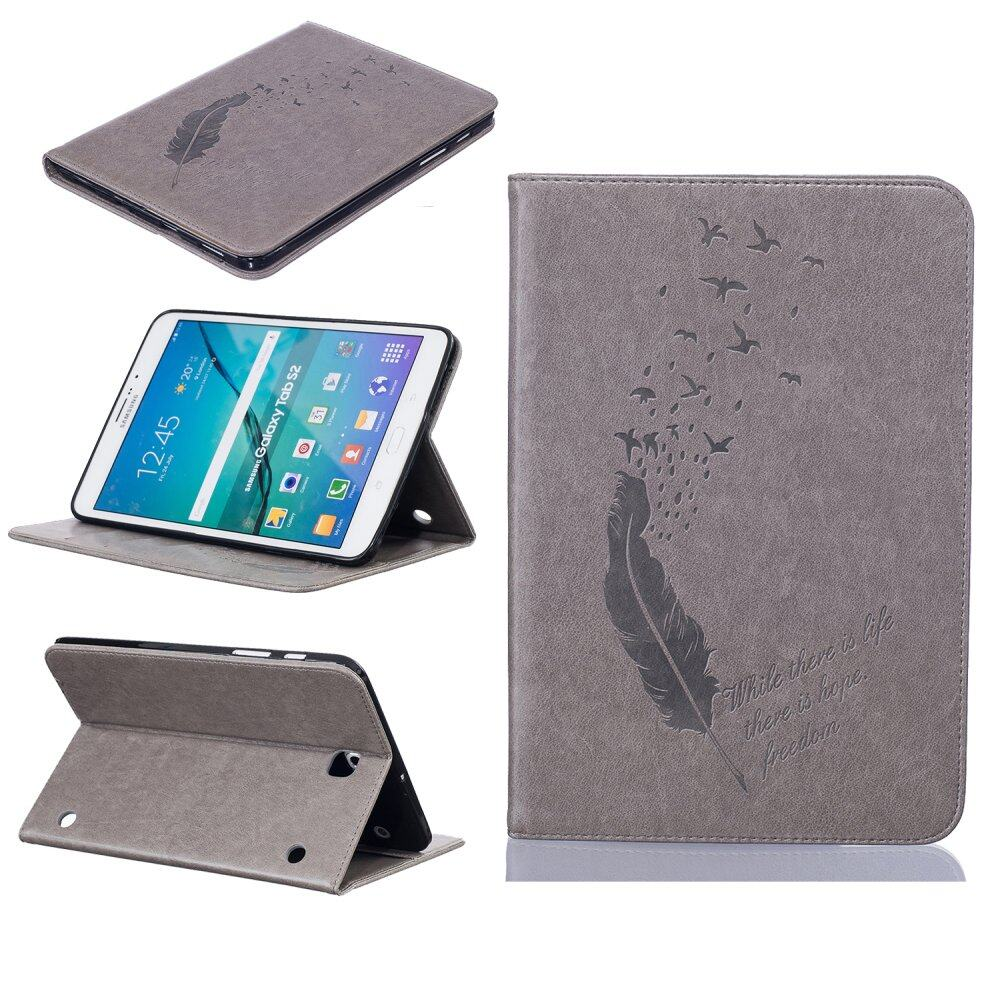 Feather PU Leather Case Flip Wallet Stand Cover for Samsung GalaxyTab S2 8.0 .