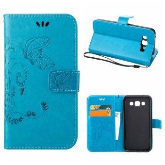Harga Flip Leather Case For Samsung Galaxy E5 Wallet Card Holder Vintage Emboss Butterfly Skin Stand Cover Blue - intl