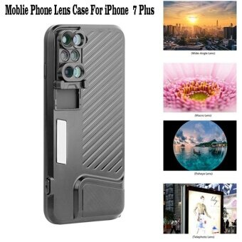 Harga For Apple iPhone 7 Plus Phone Dual Camera Lens Fisheye Wide AngleMacro Telescope Camera Phone Lense with Protection Case - intl