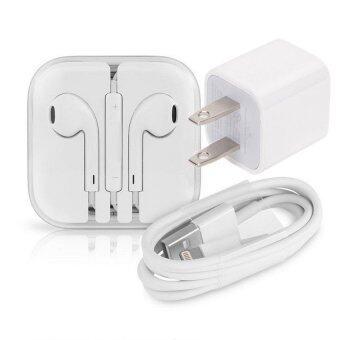 ชุดอุปกรณ์ สายชาร์จ + หัวปลั๊ก + หูฟัง For iPhone/iPod/iPad (White)