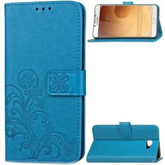Harga For Samsung GALAXY C9 Pro Case, four leaf clover Wrist Strap StandFeature PU Leather Flip Wallet Case Cover For Samsung GALAXY C9 Pro(Blue) - intl