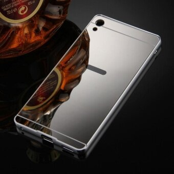 For Sony Xperia XA Ultra Mirror Push Pull Back Shell Cover +Electroplating Bumper Frame Protective