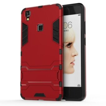 For VIVO V3 Max Dual Layer 2 in 1 Rugged Rubber Hybrid ProtectiveArmor Phone Cover Case with Kickstand - intl