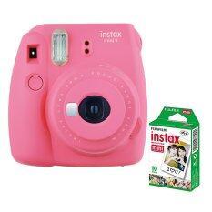 Fujifilm กล้องอินสแตนท์ รุ่น Instax mini 9 (สี Flamingo Pink) + Fujifilm แผ่นฟิล์ม Instax Mini Pack 10 แผ่น