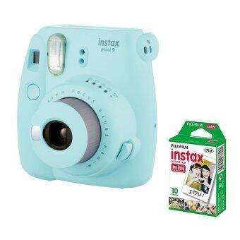 Fujifilm กล้องอินสแตนท์ รุ่น Instax mini 9 (สี Ice Blue) + Fujifillm แผ่นฟิล์ม Instax Mini Pack 10 แผ่น