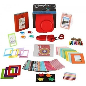 Fujifilm Instax Mini 9 or Mini 8 instant Camera Accessories Bundle 14 PC Kit Includes: Instax Case + Strap 2 Albums Filter Selfie lens Magnets + Hanging + Creative Frames stickers Gift Box - intl