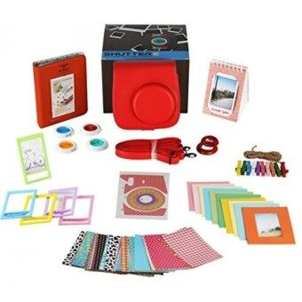 Fujifilm Instax Mini 9 or Mini 8 Instant Camera Accessories Bundle. RASPBERRY 11 Piece Gift Box Fuji accessories Kit Includes: Mini Case + Strap Photo Albums Filters Selfie Lens 60 Stickers  More - intl