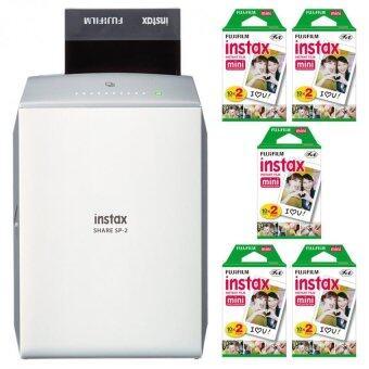 Fujifilm Instax Share Smartphone Printer SP-2 + Mini White Edge 100Instant Film (Silver) - intl
