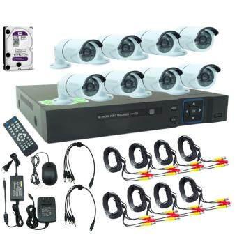 Gateway AHD CCTV ชุดกล้องวงจรปิด 8 กล้อง HD AHD KIT 1.3 รุ่น 668(White) Free HDD 1 TB (สีม่วง)