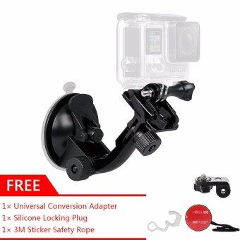 GearBear 70mm Car Windshield Window Glass Suction Cup Mount Sucker + GIFT 3M Sticker Safety Tether  Universal Adapter  Rubber Locking Plug Kit Set For GoPro Hero 5 4 3+ 3 2 1 Session Action Sports Camera Sony JVC XiaoMi Yi Sjcam
