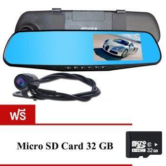 GOOD IT Black Box DVRกล้องติดรถยนต์แบบกระจกมองหลังพร้อมกล้องติดท้ายรถ FHD1080P(สีดำ)ฟรีMicro SD CARD 32G