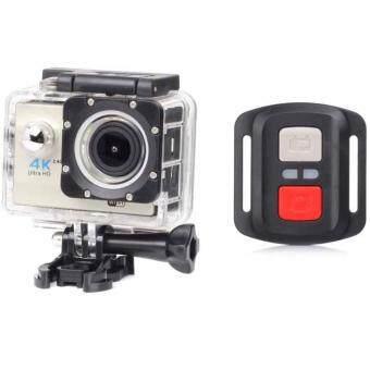 H16R Ultra HD 4K remote Action Camera 2.0' Screen WiFi 1080P/60fps170D lens Helmet Cam go pro waterproof mini camera (SILVER)กล้องถ่ายวีดีโอสำหรับเล่นกีฬา ความระเอียด อัฟตราเอชดี 4Kมาพร้อมรีโมท