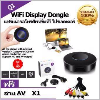 ตัวแปลงสัญญาณภาพHD+AV output Q1 Mirroring wifi display receiver dongle Android TV streaming stick HDMI+USB+Audio miracast DLNA VS chromecast dab (รองรับ Android/IOS แต่เล่นYoutube IOS ต้องใช้ Wi-Fi บ้านหรือฮอตสปอตเท่านั้น)ของแถมสายRCA 1เส้นมูลค่า99บาท