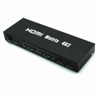 HDMI Matrix 4x2 Switch (4 HDMI in 2 HDMI out) HDMI Splitter with Audio OutRemote Control Support CEC Deep Color 30bit 36bit Support 1080P 3D CV0103