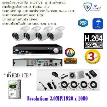 ชุดกล้องวงจรปิด HDTVI ความละเอียด 2 ล้านพิเซล พร้อมกล้อง HDTVI 4 ตัว