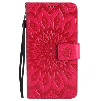Hicase Anti-Scratch Protective Cover For Asus ZenFone Go ZB551KL 5.5 Inch Sunflower Style PU Leather Flip Kickstand Wallet Case Red - intl