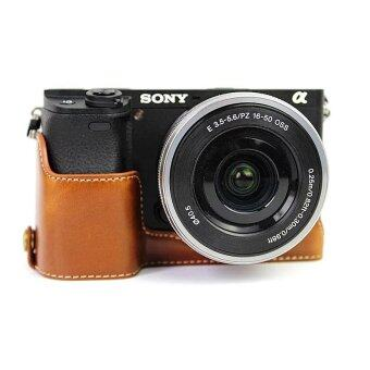 High Quality PU Leather Half Camera Case Bag Cover Base with TripodMount for Sony A6300/ ...