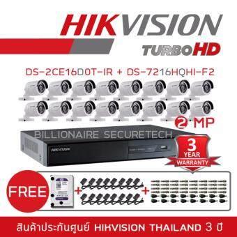 ประกาศขาย Hikvision ชุดกล้องวงจรปิด 16 ช่อง 2MP DS-7216HQHI-F2/N + DS-16D0T-IRx16 (3.6 mm) 'FREE' BNC +DC+ HDD 2TB + ADAPTOR