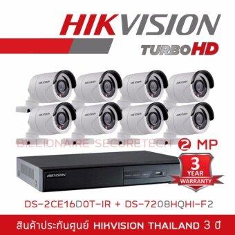 HIKVISION ชุดกล้องวงจรปิด 2 MP DS-7208HQHI-F2 + DS-2CE16D0T-IR*8 (3.6 mm)