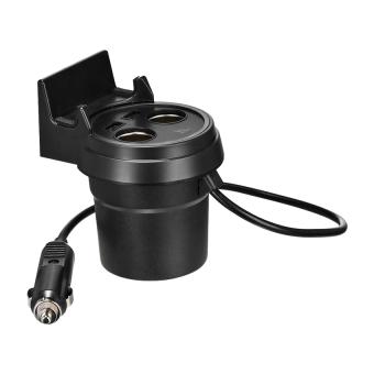 Hoco Multifunctional Cup Shape Car Charger ถ้วยขยายช่องจุดบุหรี่ 2ช่อง พร้อม USB 2 port ในรถยนต์ รุ่น UC207 (สีดำ)