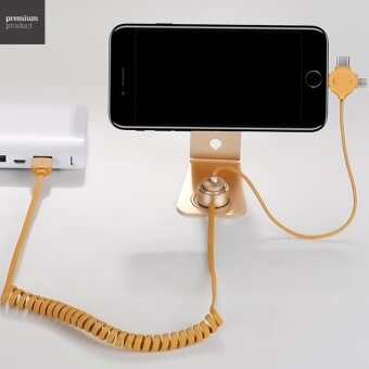 HOCO U19 Universal Magnetic Adsorption Charging Holder with 3-in-1Detachable USB Charging Cable - Gold