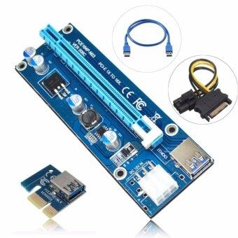 เสนอราคา Hongstill 6Pin Cable PCIe PCI-E PCI Express Riser Card 1x to 16x USB 3.0 Data Cable SATA to 6Pin IDE Molex Power Supply for BTC Miner Machine