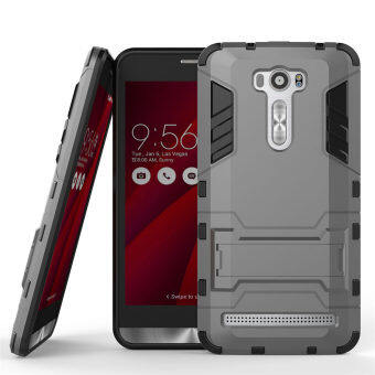 Harga PC + Silicone Dual-Layer Bumper Case with Kickstand for Asus Zenfone 2 Laser ZE601KL 6.0 inch (Grey) - intl